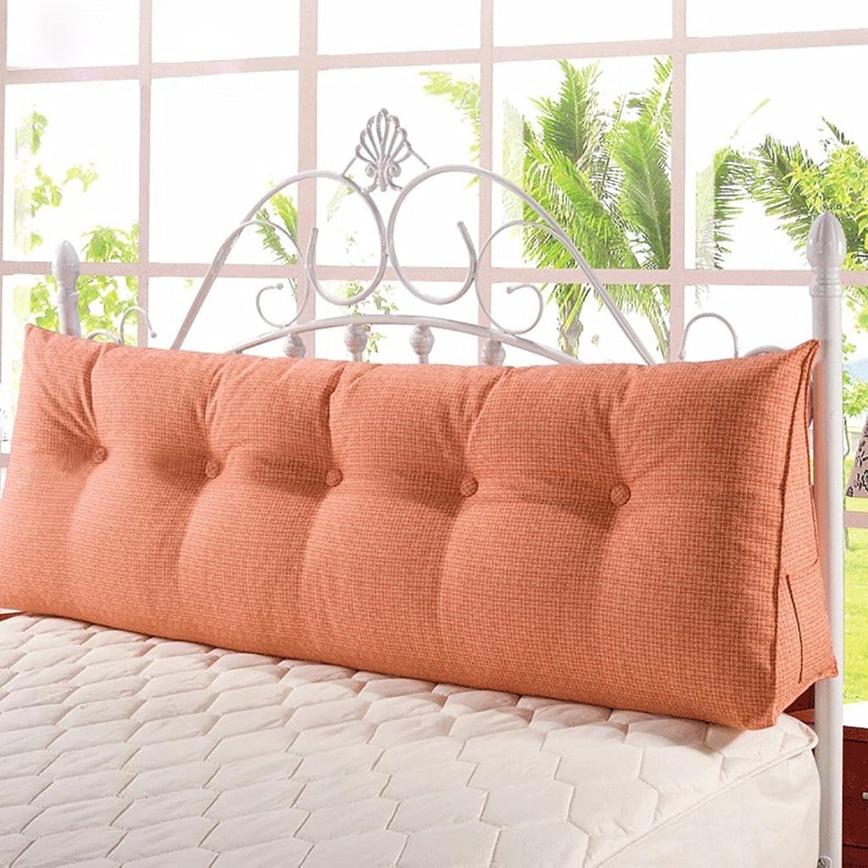 EU8 Lit grand canapé dos coussin tête de lit oreiller long oreiller lit coussin doux sac sans lit lavable (Couleur   Orange, Taille   90  50  20cm)