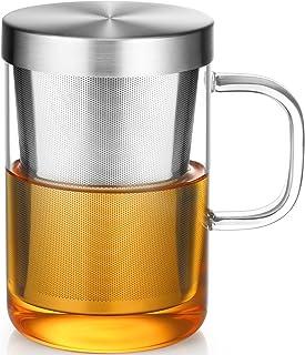 ecooe 500mlvolle Kapazität Glas Tasse mit Edelstahl sieb und Deckel Teeglas Teebecher aus Borosilikat Teetasse