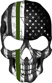 K9King Military Skull 5.5 x 4 Inch Thin Green Line Tattered Subdued Us Skull Flag. Highly Reflective Vinyl Decal