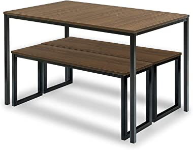 Zinus Louis Modern Studio Soho Dining Brown Table Set with Two Benches   3 Pieces Dining Set   Easy Assembly Industrial Dinin