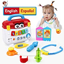 GrowthPic Kids Toy Play Medical Kit Pretend Play Doctor Set for Toddlers - Medical Box with Music, Lights and Preschool Learning Program in English and Spanish for Babies, Boys and Girls 2-6 Years