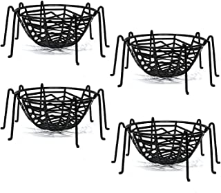 Halloween Spider Web Legs Candy Bowl Basket Party Favor Supplies Table Decorations, Set of 4 Trick or Treat Plastic Goodie Dish Holder Black by Gift Boutique