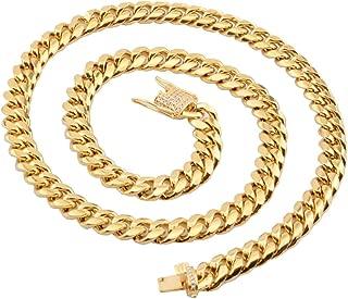 Collar Cadena Oro Hombre Cadena de Curb Link Circonita Blanca Collar Cadena Acero Inoxidable 8-18mm Colgante Hombre Cadena 46-76cm