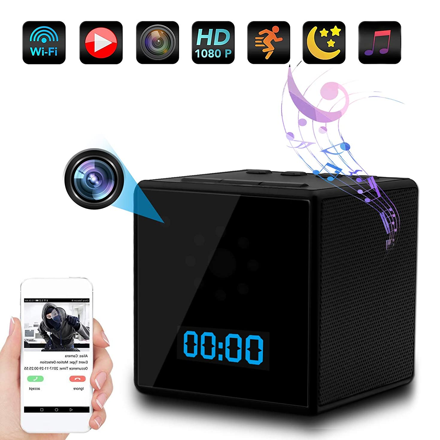 TTCDBF Hide Bluetooth Speaker camera/1080P Full hd Hidden CAM/Night Vision Motion Detection/Home Security Surveillance Video Recorder/Use The APP to View it remotely