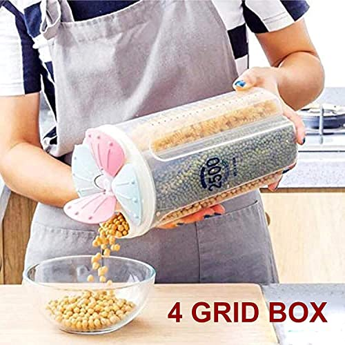 Denique 2500Ml 4 Grid Cereal Dry Food Storage Containers Airtight Lid Suitable For Kitchen Cereal Flour Sugar Coffee Rice Nuts Snacks