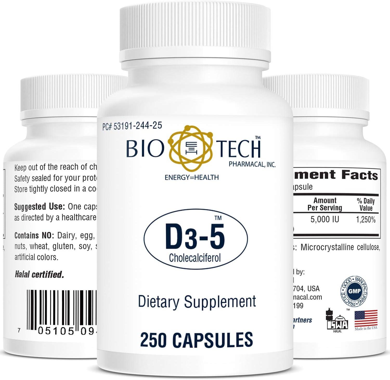 Bio-Tech Pharmacal Vitamin Popular standard D3 5k New sales Count IU 250