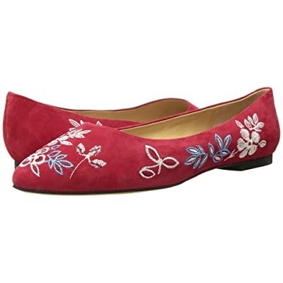 Trotters Estee Embroidery (Red Embroidered Kid Suede Leather) Women