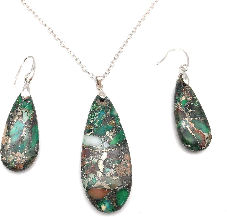Teardrop Sea Sediment Imperial Jasper Natural Stone Gemstone Necklace Pendant & Drop Dangle Hook Earrings Jewelry Set For Women Girls