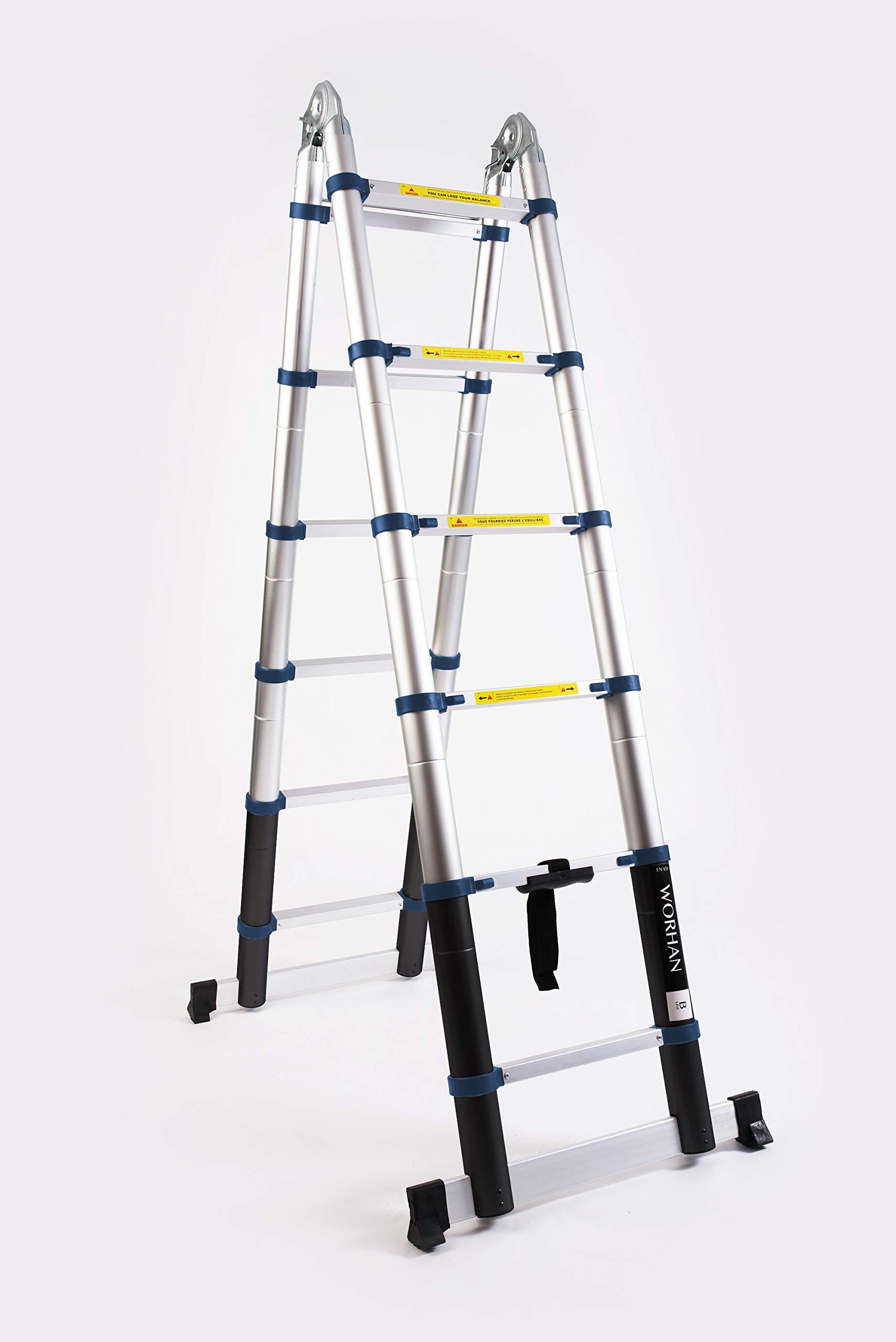 WORHAN 3.2 M escalera telescópica 2-en-1 escalera plegable ...
