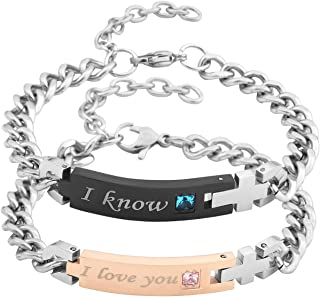 Men Women Stainless Steel CZ His Beauty & Her Beast Couples Bracelets Matching Set in Gift Box