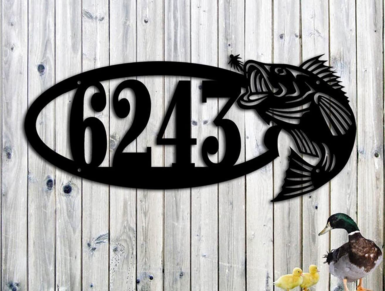 Large Mouth Bass Fish Custom address Lake House Sign 23 x 10 1/4 Fishing, Cabin Address Sign Father's Day Gift Garden Art Man Cave Bar Fishing Sign Made IN USA