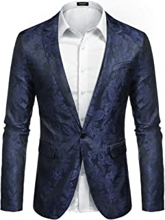 JINIDU Men's Paisley Tuxedo Jacket Lightweight Slim Fit Suit Blazer Jacket for Dinner Party Wedding Prom