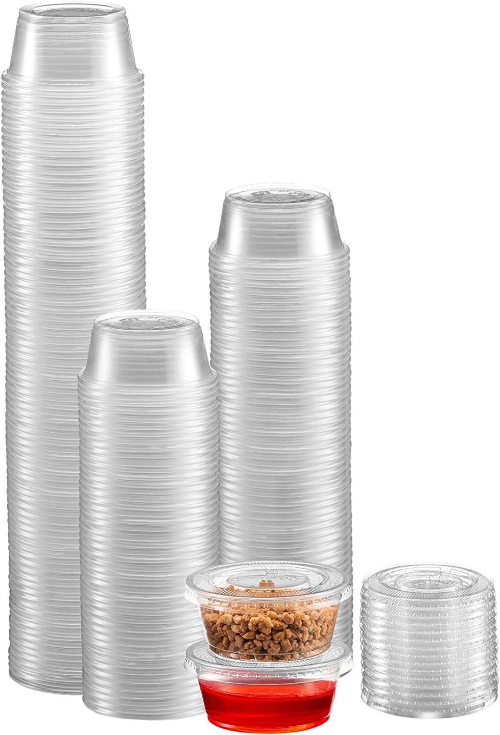 Zeml Portion Cups with Lids (2 Ounces, 100 Pack)   Disposable Plastic Cups for Meal Prep, Portion Control, Salad Dressing, Jello Shots, Slime & Medicine   Premium Small Plastic Condiment Container