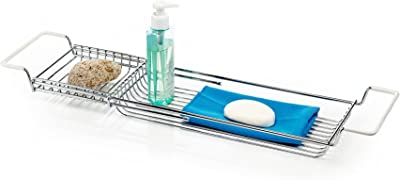 Home Intuition Stainless Steel Expandable Shower Bathtub Tray Over the Clawfoot Tub Bath Caddy