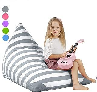 Aubliss Stuffed Storage Bean Bag Chair - Plush Animal Toy Organizer for Kids, Girls and Children | Extra Large | 23 Inch Long YKK Zipper | Premium Cotton Canvas Grey
