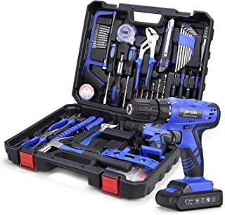 112-Piece Tool Set with Drill, Home Tool Kit with 21V Cordless Drill Set, Jar-owl Professional Household Toolkit Set with ...