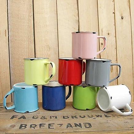 Preisvergleich für Tony Brown | Kaffee - Teetasse | Kaffeebecher | Uni Farben | Emaille Optik | Porzellan Tasse | Used Look (Gelb, 300ml)
