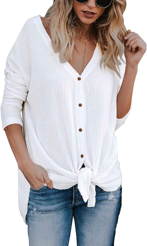 JOSIFER Women's V Neck Button Down Loose Fitting Shirts Waffle Knit Tunic Blouse