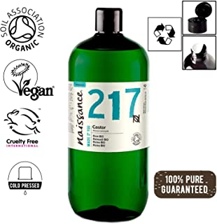 Naissance Certified Organic Cold Pressed Castor Oil 33.8 fl oz / 1 L - Pure, Natural, Virgin, Unrefined, Vegan, Hexane-Free, No GMO - Nourishes and Moisturizes Hair, Eyebrows and Eyelashes