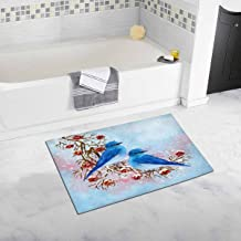 INTERESTPRINT Two Blue Birds Sitting on A Branch, Red Berries, Snow, Winter Country House Image, Christmas Composition Bath Mat Soft Bathroom Rugs Non-Slip Rubber 20 W X 32 L Inches