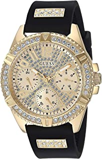 GUESS Comfortable Gold-Tone + Black Stain Resistant Silicone Watch with Day, Date + 24 Hour Military/Int'l Time. Color: Bl...