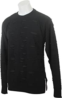Men's Two-Tone Ripped Crewneck Sweater