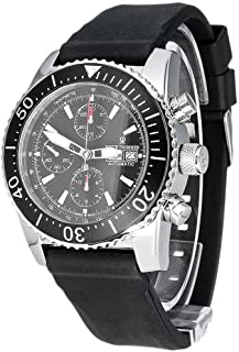 Revue Thommen Diver Automatic Watch - Black Dial Chronograph Day Date Revue Thommen Watch Mens - Black Rubber Band Swiss Revue Thommen Professional Dive Watch 17030.6534
