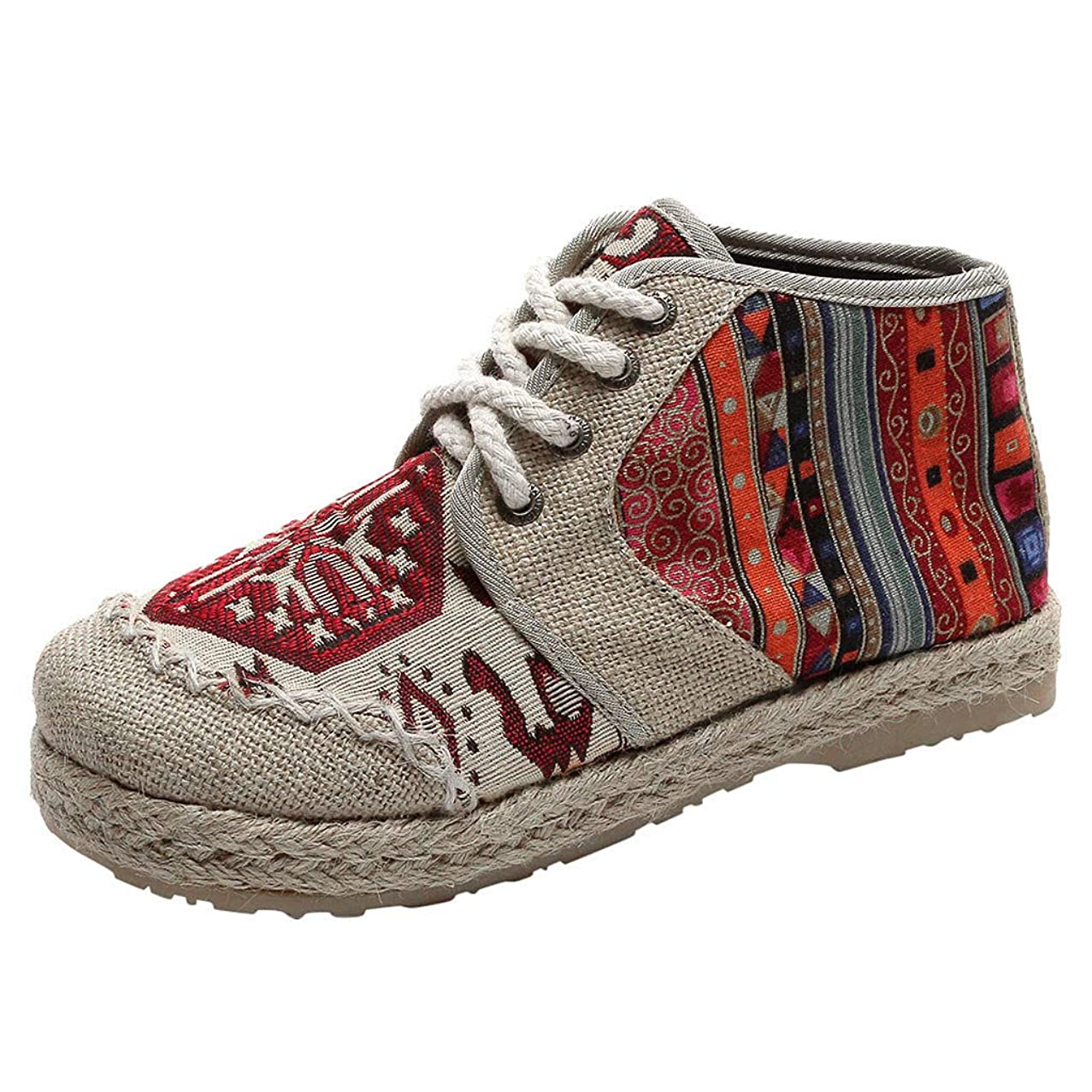 Mosunx Clothing High Top Casual Sneakers Women, 【Lace Up Espadrilles 】 Lightweight Breathable Boho Printed Non-Slip Flat Canvas Shoes