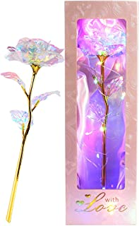 Icreer Colorful Galaxy Rose Mothers Day Amazing Gifts Gold Rose Gifts for Women,24K Golden Foil Roses with LED Decor Gifts...