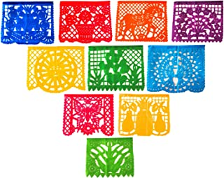 2 Pack Large Plastic Mexican Fiesta Papel Picado Banner 10 Multi-Color Handcrafted Panels with Decorative Designs
