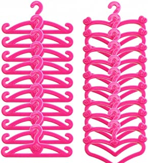 E-TING 50 PCS Pink Plastic Little Hangers for Girl Doll Dress Clothes Gown Doll Clothes Accessories