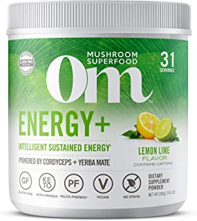 Om Mushroom Superfood Powder, Energy Plus, Lemon Lime, (32 Servings), Cordyceps, Yerba Mate, & Vitamin C, Immune Support S...