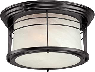 Westinghouse Lighting 05937003861 Westinghouse 6674600 Senecaville Two-Light Exterior Flush-Mount Fixture, Weathered Bronze Finish on Steel with White Alabaster Glass, 1,
