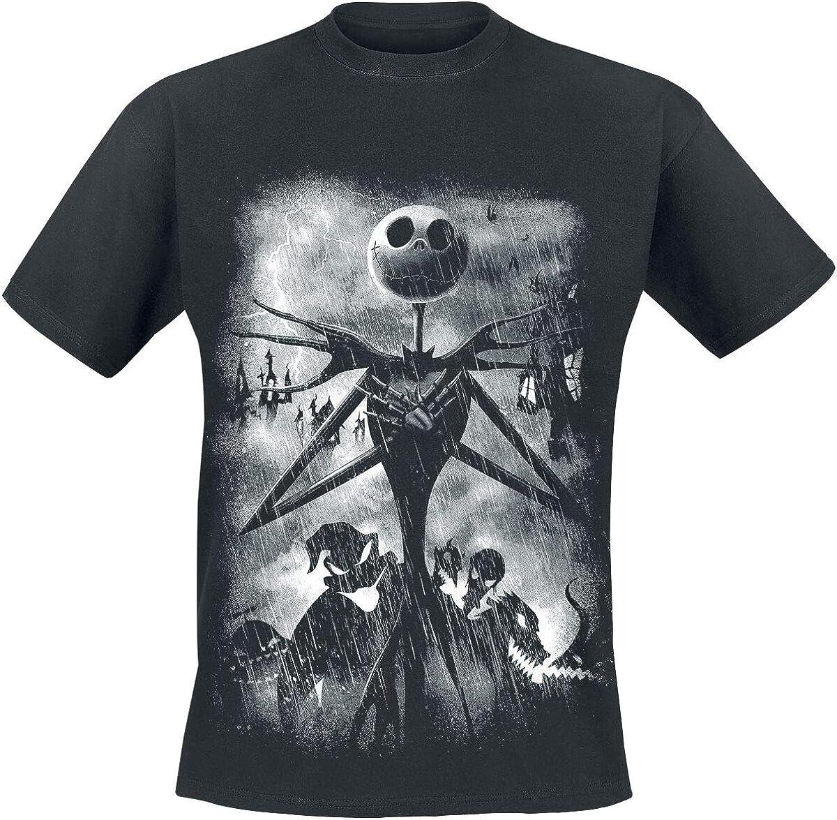The Nightmare Before Christmas T-Shirt Stormy Skies da Uomo in Nero