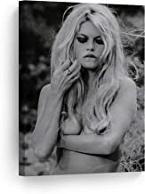 SmileArtDesign Portrait of Sexy Half Naked Actress Brigitte Bardot Black and White Wall Art Canvas Print Sexy French Icon Artwork Living Room Bedroom Home Decor Ready to Hang Made in USA 12x8
