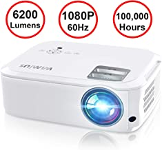 Projector, WiMiUS P21 6200 Lumens Video Projector Native 1920×1080 LED Projector Support..