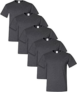 Dri-Power Active Adult Tee, XL, Black Heather (Pack of 5)