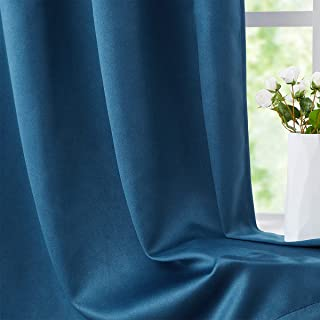 """FMFUNCTEX Blue Blackout Curtains for Bedroom, Mens Room 63"""" Thermal Insulated Velvet Look Soft Window Curtain Drapes Gromm..."""