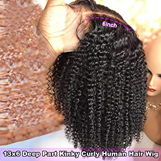 S-noilite Pre Plucked Afro Kinky Curly 13x6 Lace Front Wig 100% Remy Brazilian Human Hair Deep Part 136 Lace Wig With Baby Hair Glueless Natural 1B Black For Women 12