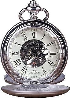 Royal Silver Double Hunter Montre de poche mécanique rétro vintage pour anniversaire, retraite, marié, garçon d'honneur, m...