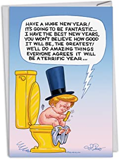Trump Toilet Tweet - 12 Boxed Happy New Year Cards with Envelopes (4.63 x 6.75 Inch) - President Donald Trump Humor, Comic New Years Notecard Set - Funny Social Media NYE Update C4330NYG-B12