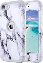 ULAK iPod Touch 6th Generation Case Marble, iPod Touch 7 Case,Heavy Duty High Impact Shockproof Protective Case Soft Silicone & Hard PC Cover for Apple iPod Touch 5/6th/7th Gen (2019), Grey Marble