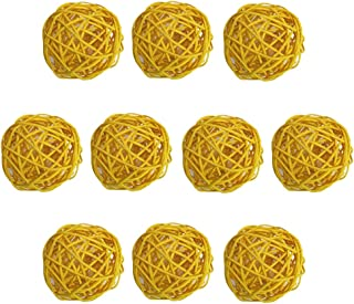Set of 15 Yellow Red Black 2 Small Rattan Wicker Balls Woodcraft Decorative Sphere Orbs for Themed Party Favor Nursery Mobiles Birthday Wedding Table Decoration Christmas Event Hanging Decoration ALLHEARTDESIRES