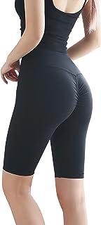 Mallas de yoga para mujer de Animque, cortas, de cintura alta, de color negro, talla S