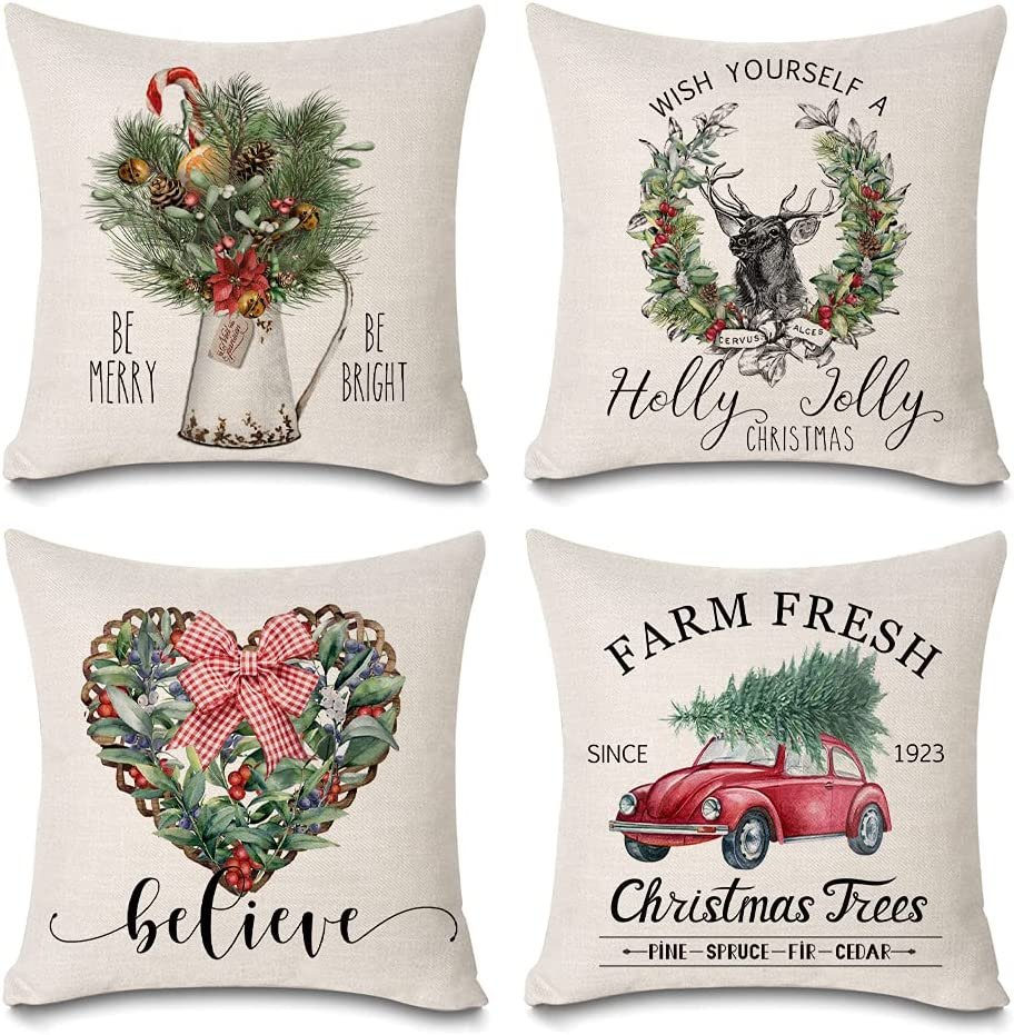 Faromily Christmas Pillow Covers 35% OFF 18x18 Jolly A surprise price is realized Chris Holly Believe