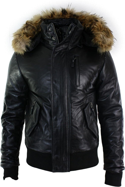 Mens Real Fur Hood Bomber Leather Jacket Black Puffer Padded