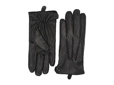 LAUREN Ralph Lauren Whip Stitch Points Gloves (Black) Liner Gloves