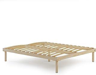 Mobili Fiver, Sommier à Lattes en Bois Grand lit français, 140x190, Hauteur Totale 26 cm, Contreplaqué de Bouleau, Made in...
