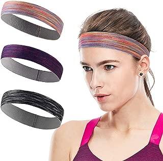 Sports Headband Sweatbands Workout Headbands for Men Women 3-Pack Sweat Wicking Hair Bands for Yoga Running Elastic Non Slip