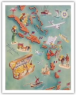 カリブ諸島の地図 - バハマ諸島 - 米国バージン諸島 - ドリンク・メニュー・リスト - ドン・ザ・ビーチカンバー・チキバーアンドレストラン - ビンテージ イラスト マップ c.1940s - アートポスター - 28cm x 36cm